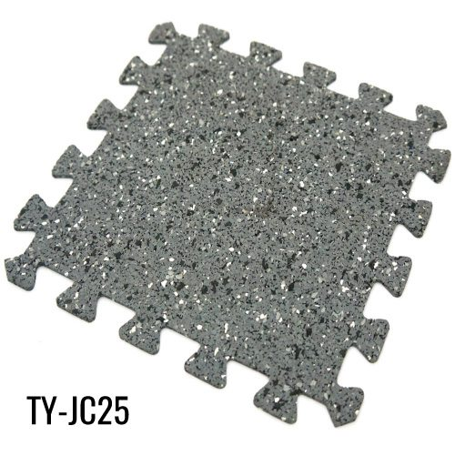 Gray Interlocking Rubber Gym Flooring for Workout Room