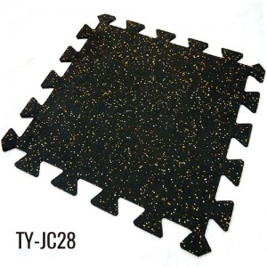 6mm Black pẹlu lo ri EPDM Fleck interlocking roba Floor Tiles