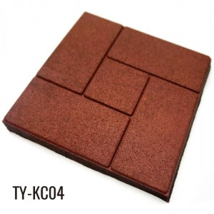 20mm Red Rubber Floor Tiles Outdoor Garden