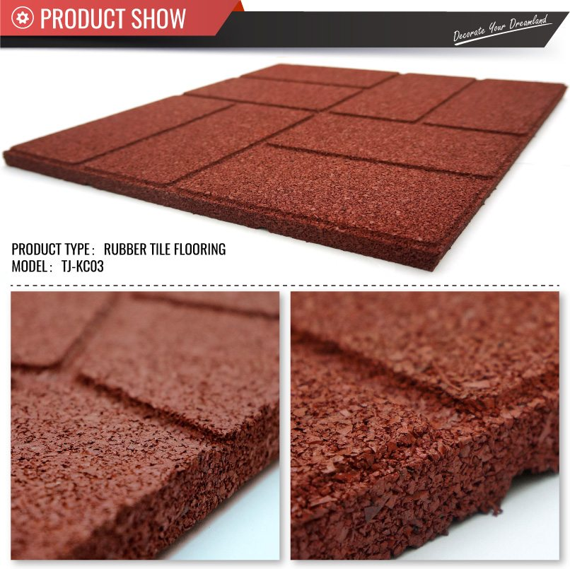40cm 40cm Outdoor Recycled Rubber Tiles Patio Pavers